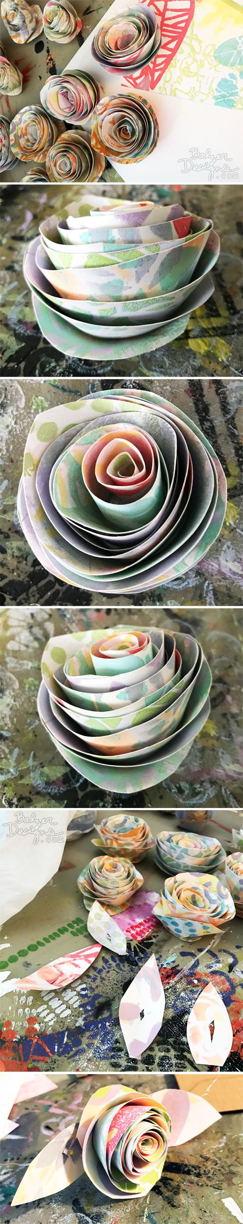 From the Balzer Designs Blog Rolled Paper Rose Garland with Suzanne