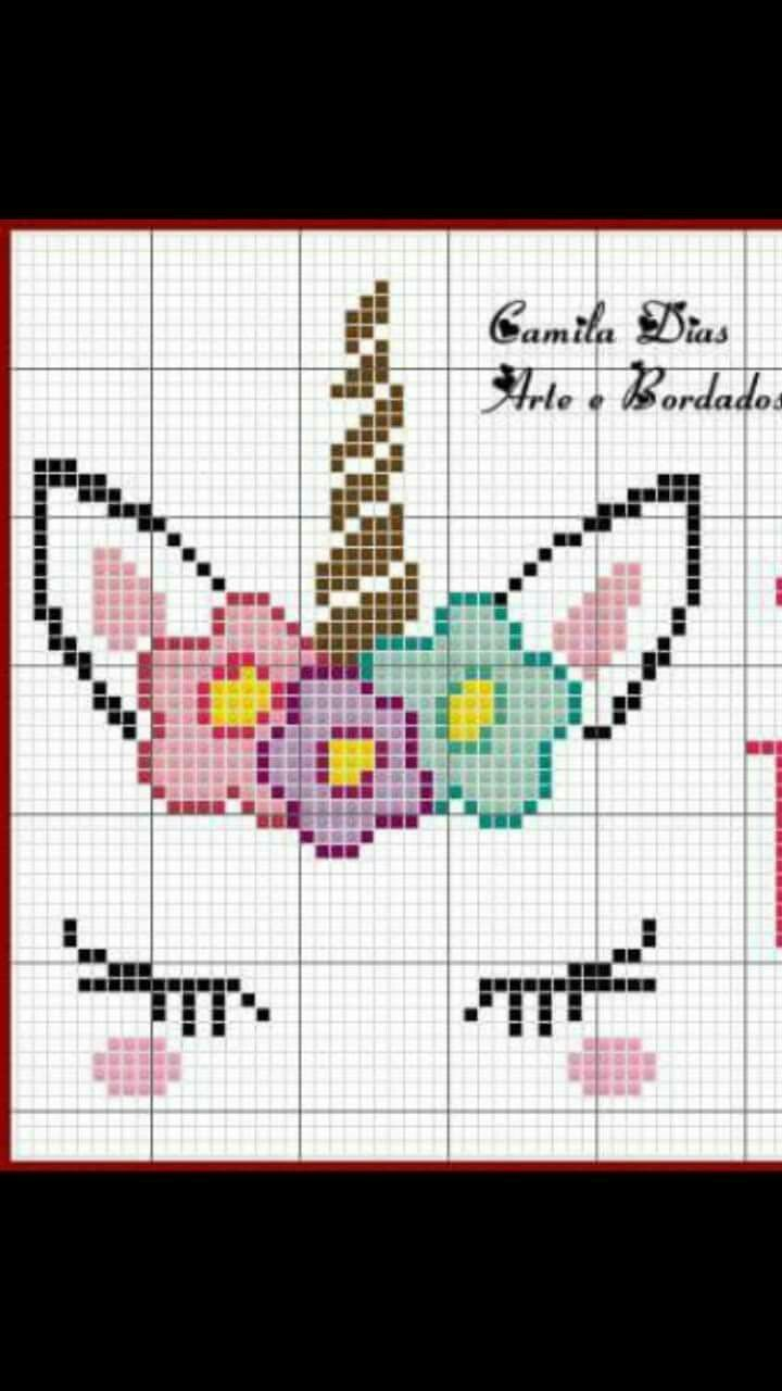 Unicorn cross stitch. I'd use actual fake eyelashes