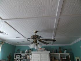 Wallpaper Beadboard Cover Drop Ceiling Panels Looks Nice