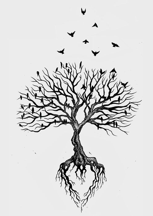 Black Tree With Watercolor Background Behind The Branches, Defined Roots,