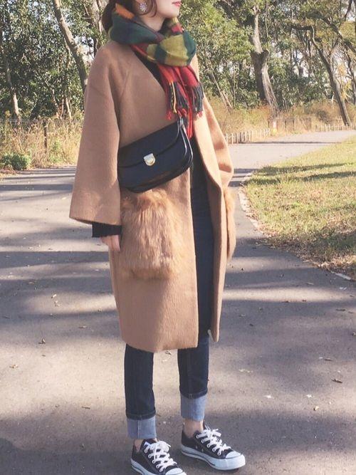 ファーポケットコートの着回しです(^ ^)☆ ここの公園は朝が本当に綺麗。 コート/FREE デニム