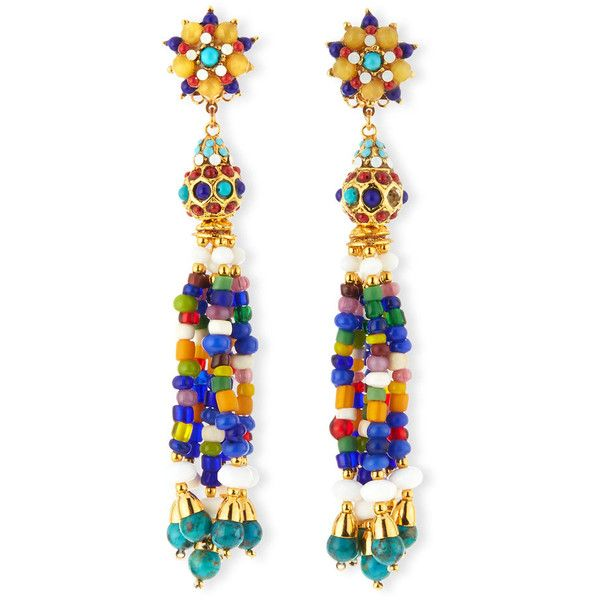 Jose & Maria Barrera Beaded Fringe Circle Drop Clip Earrings U2JWhC
