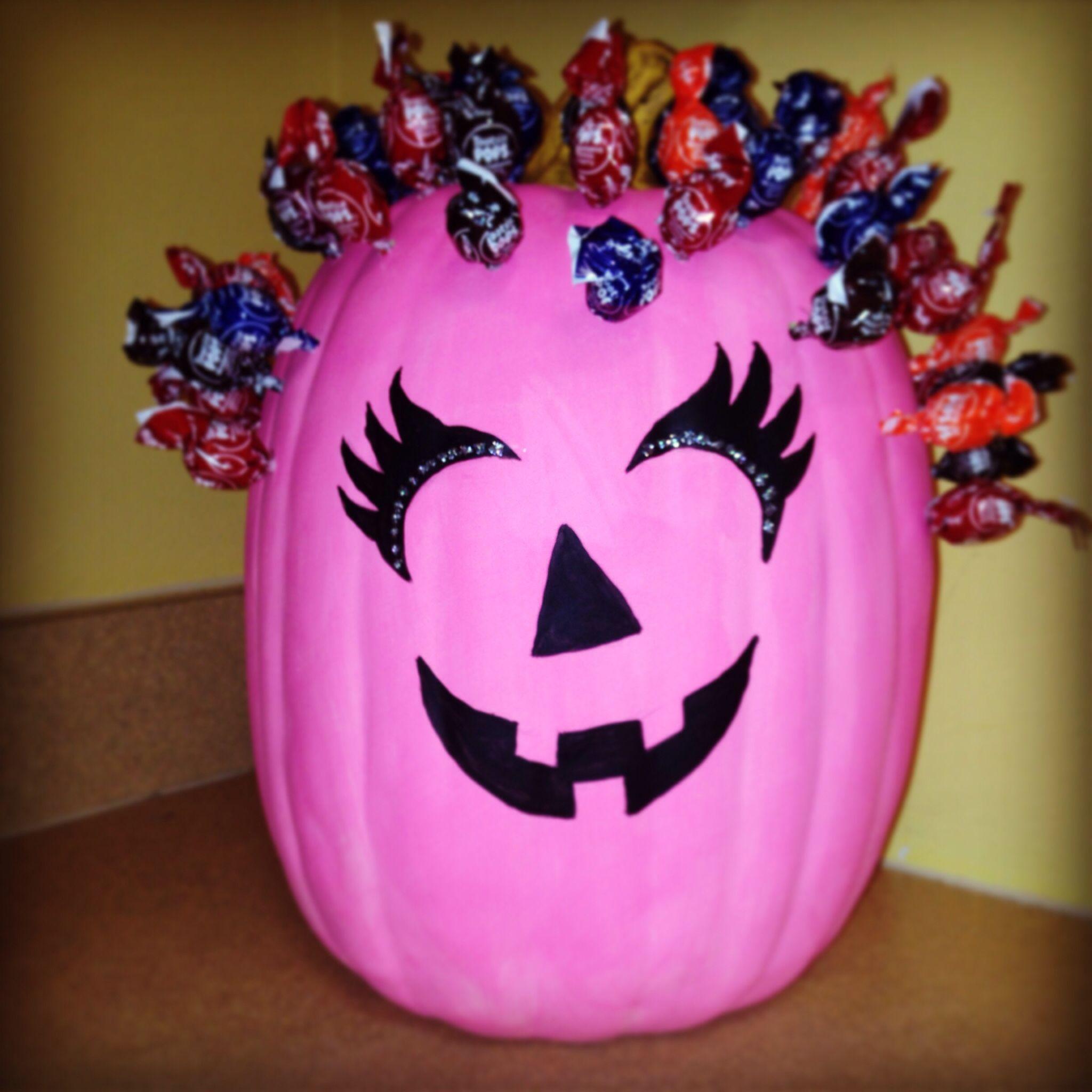 Pink Pumpkin With Lollipop Hair. Breast Cancer Awareness