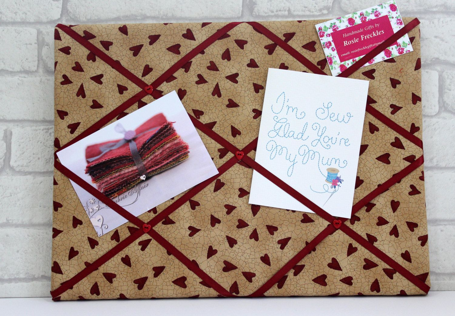 Fabric Notice Board Red Hearts And Buttons Padded Noticeboard