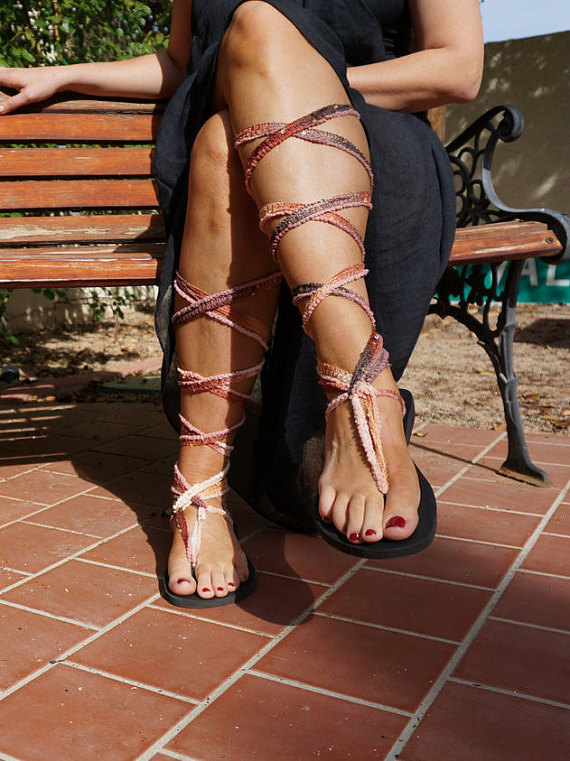 Tall Brown Ombre Lace Up Gladiator Sandals. Chrysandals have  interchangeable laces and soles.