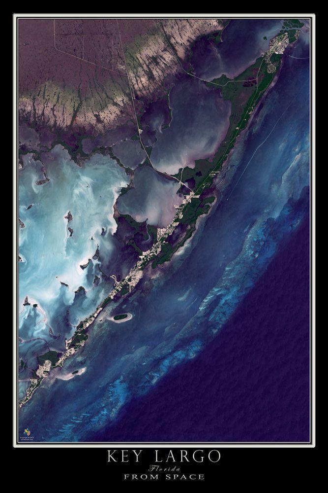 Key Largo Florida Satellite Poster Map Florida Keys Coral Reefs - Map through satellite