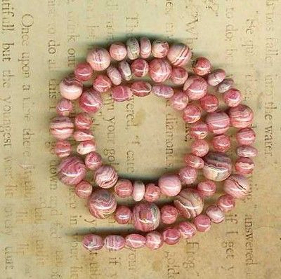 """Rhodochrosite Beads Graduated Rounds 16"""" Strd Waves of Color 6 8 10mm Argentina 