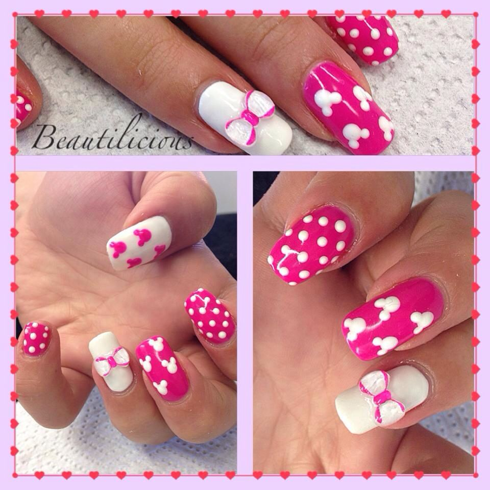 Disney nails. Gelish on natural nails in neon pink and white ...
