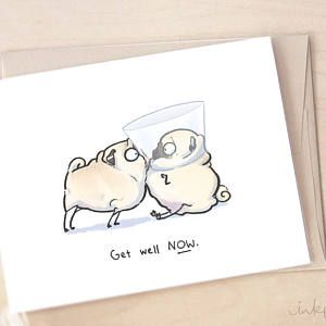 Funny humorous Pug dog on the toilet /'GET WELL SOON/' greetings card