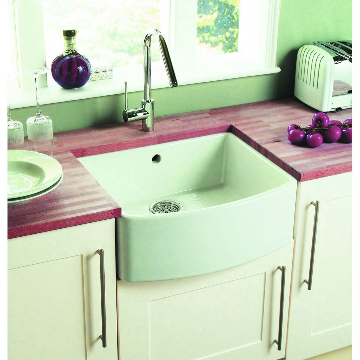 Wickes Bow Front 1 Bowl Kitchen Ceramic White Sink
