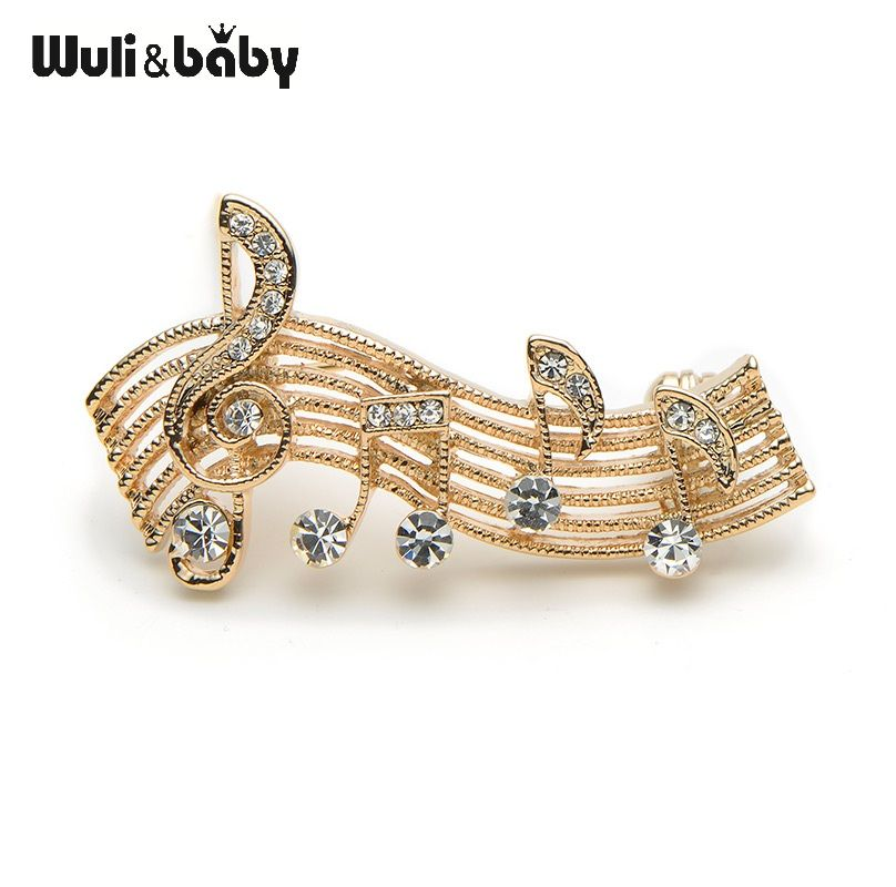 Fashion Musical Notes Brooches For Women Rhinestone Costumes Suit Brooch Pins Collar Pin High Quality Brooch