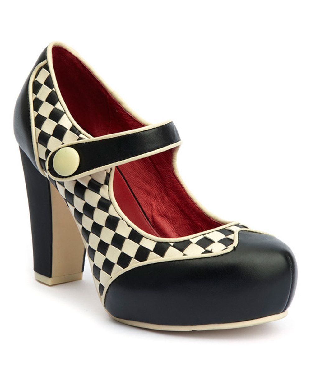 83dcdc7283698 Look at this Black & Cream Checkerboard Angie P Leather Mary Jane on ...