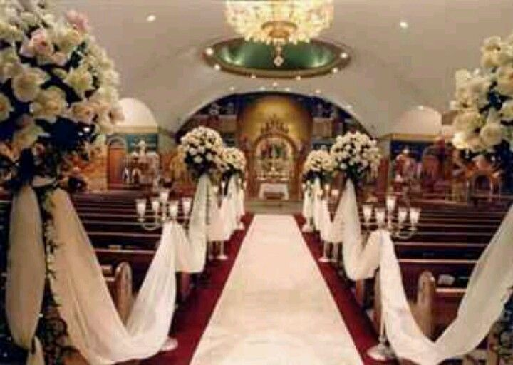 Church Pew Decorations I Like The White Swags Not Huge Flowers What About Bows On Pews With Smaller