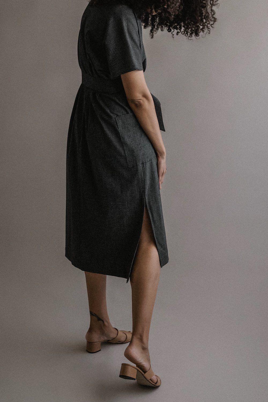 Haruko Dress Navy Grid Two Days Off Dresses Olive Stripe Gingham Dress