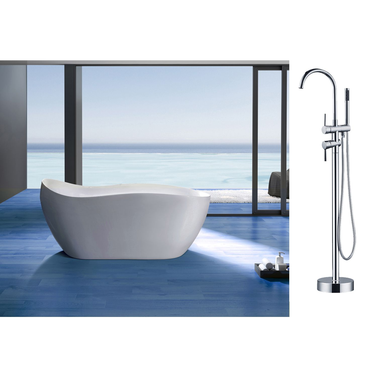 This free standing, acrylic bathtub is durable, light weight, and ...