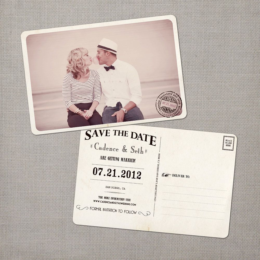 cruise wedding save the date announcement%0A Cadence  Vintage Save the Date Postcard          via Etsy
