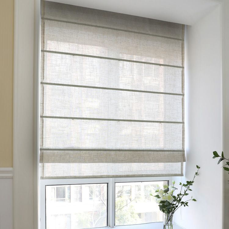 Modern Solid Beige Color Roman Shades / Window Blind