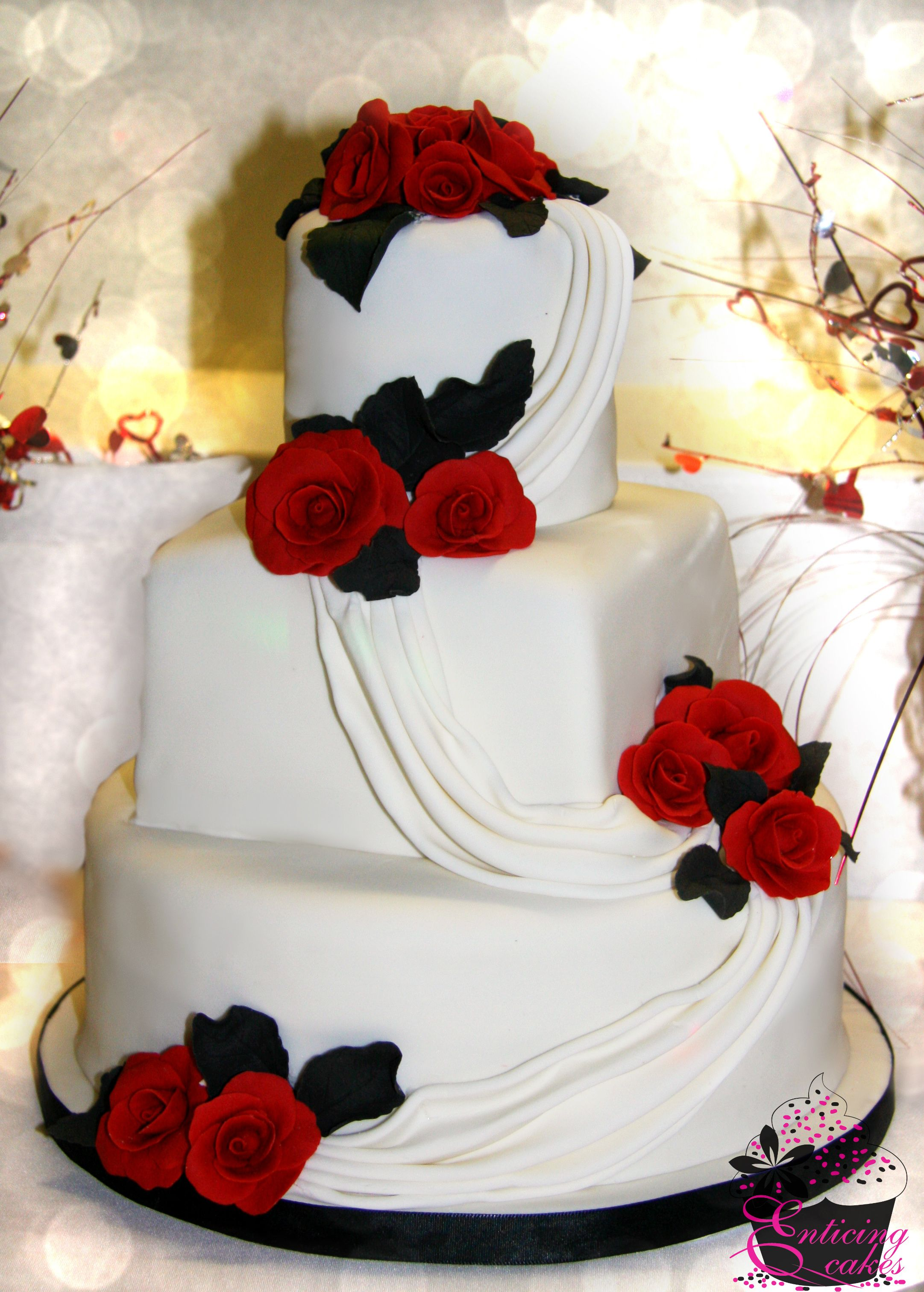 Red Roses & Swags Wedding Cake | Allie\'s Wedding | Pinterest | Red ...