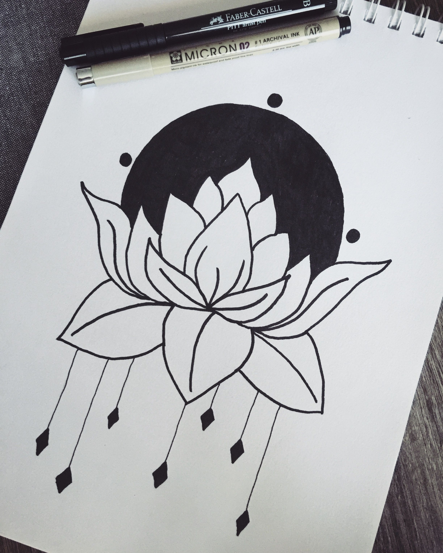 Lotus flower drawing pen ink art dibujos pinterest drawings