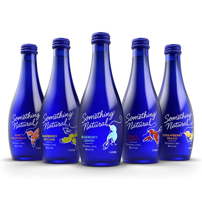 Blue Glass Bottle Packaging For Sparkling Water Something Natural