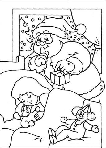 santa prepares a surprise for a little girl coloring page