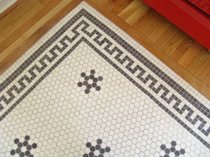 Traditional Old Home Tile Pattern Penny Round With Greek Key Border And Inside Flower