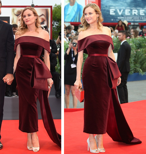 Diane Kruger looked stunning in red velvet at the Venice Film Festival #fashion