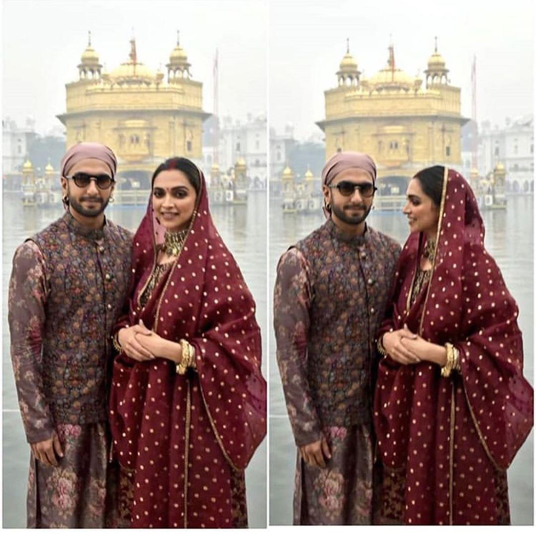 Deepika Padukone And Ranveer Singh Seek Blessings At Golden Temple On Their First Weddi Deepika Padukone Indian Wedding Photography Poses Indian Bridal Fashion