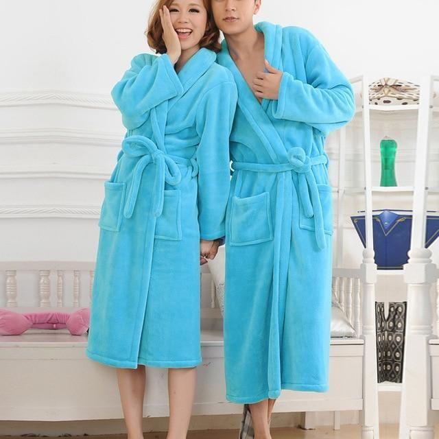 7888728a9a2f Flannel Women Men sleepwear robe Thick Warm Winter Shower Spa Robe bath  Bathrobe Sleep Nightgown robe Men Dressing Gown