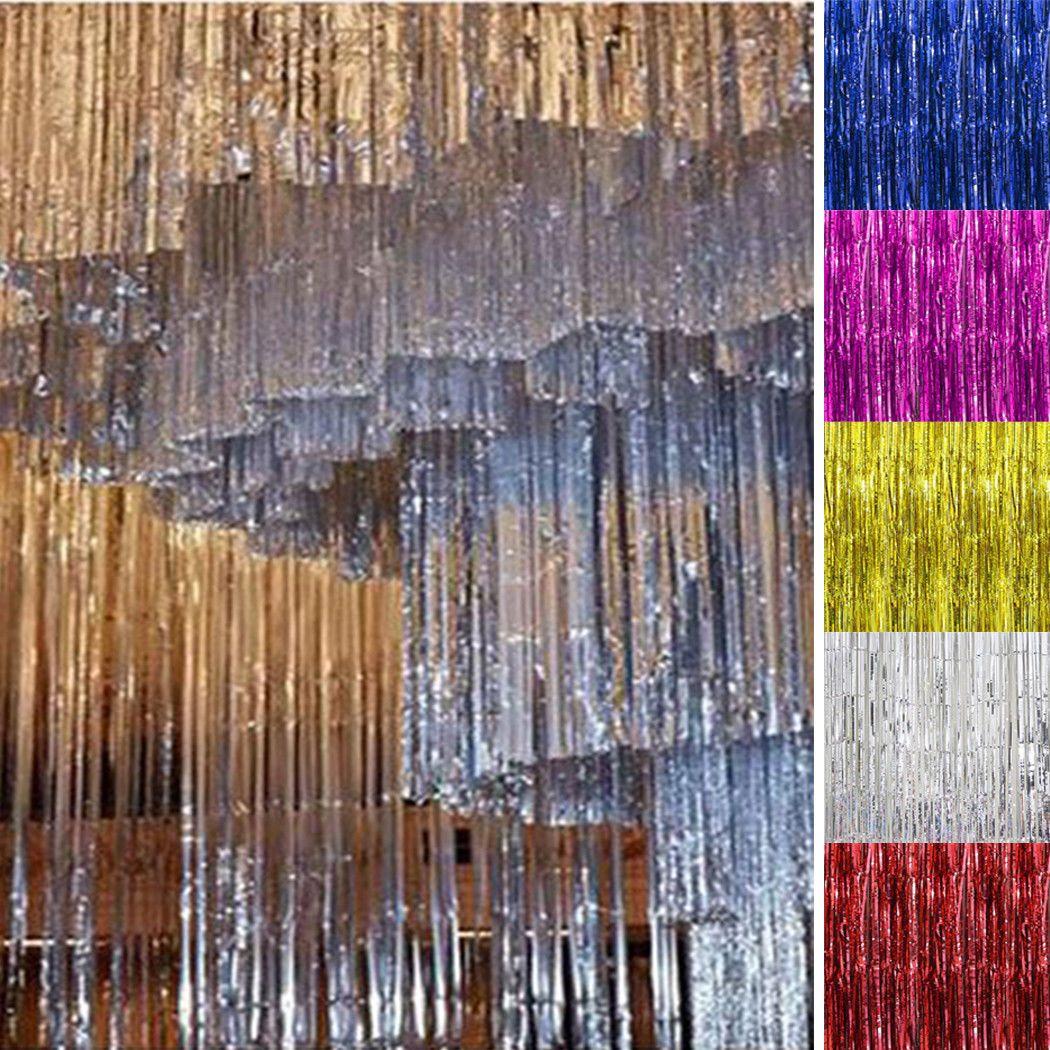2m 3m Metallic Foil Fringe Tinsel Curtain Wedding Backdrop Weeding