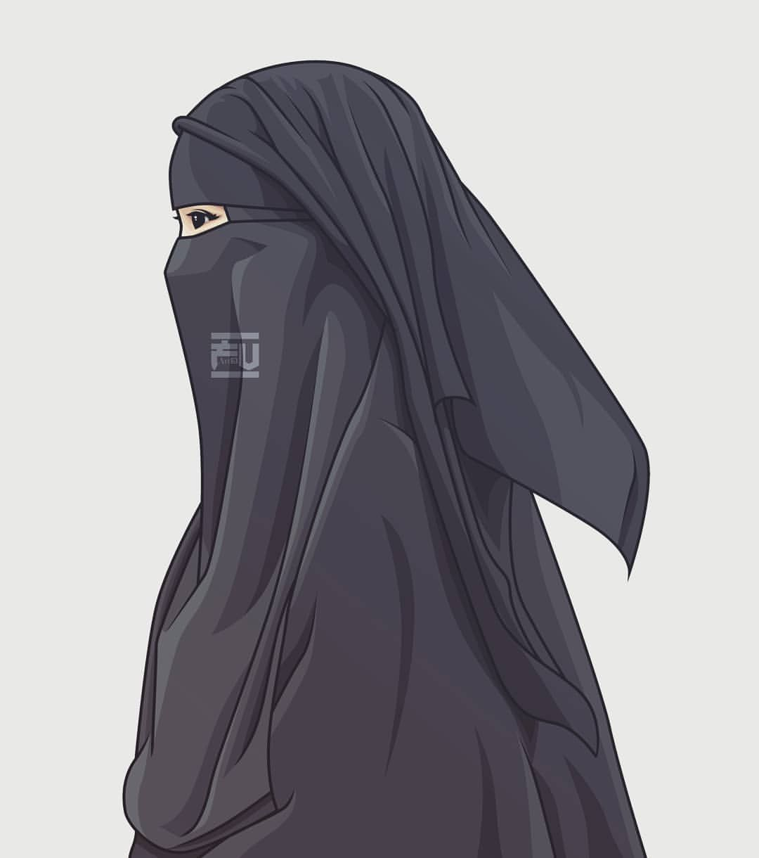 Vector hijab niqab muslimah art in 2019 hijab cartoon