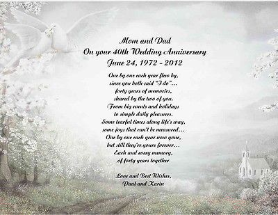 40th Wedding Anniversary Poem Gift For Mom Dad Anyone