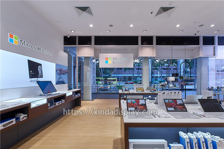 Modern Computer Shop Fittings Laptop Display Counter Electronics Store Design Shop Interior Design Microsoft Surface