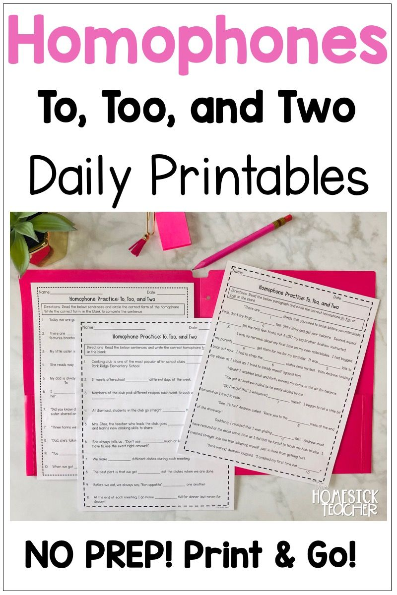 To Too And Two Worksheets Homophones Grammar Instruction Common Core Aligned [ 1200 x 800 Pixel ]