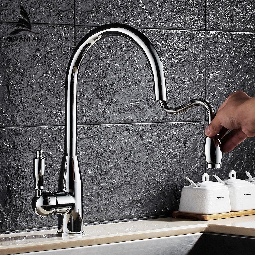 Modern New Chrome Kitchen Faucet Pull Out Single Handle Swivel Spout ...