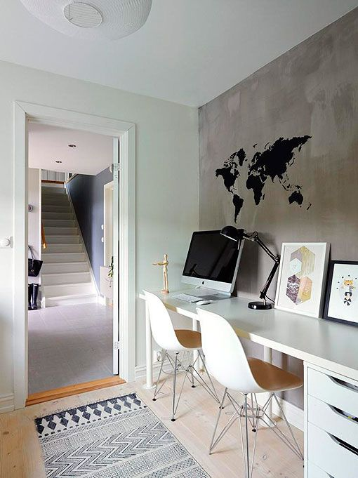 Zona de trabajo en casa espacio para dos ideas para casa-apto - bibliotecas modernas en casa