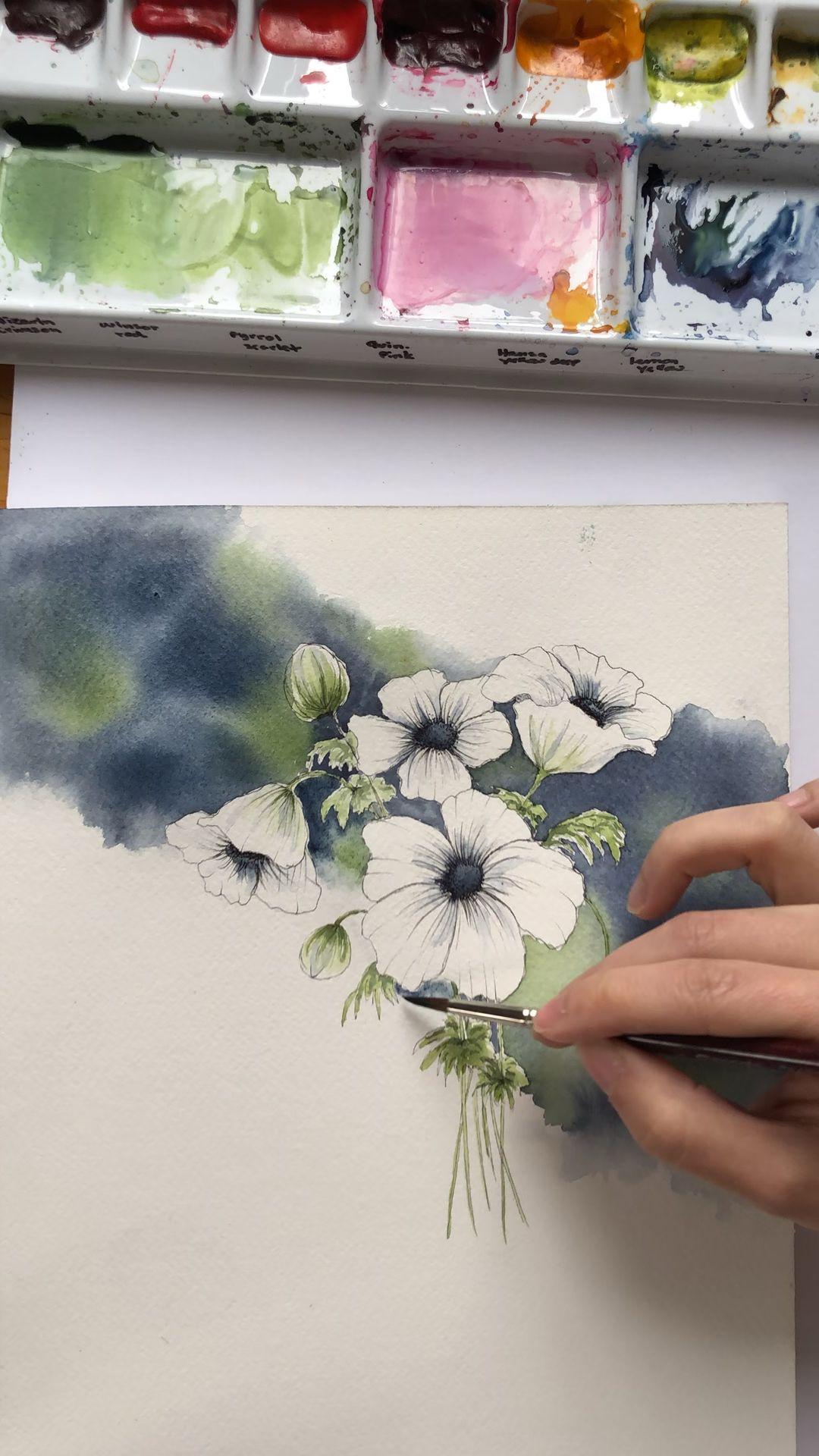 Watercolor Floral Artwork Video Flower Painting Inspiration Idea