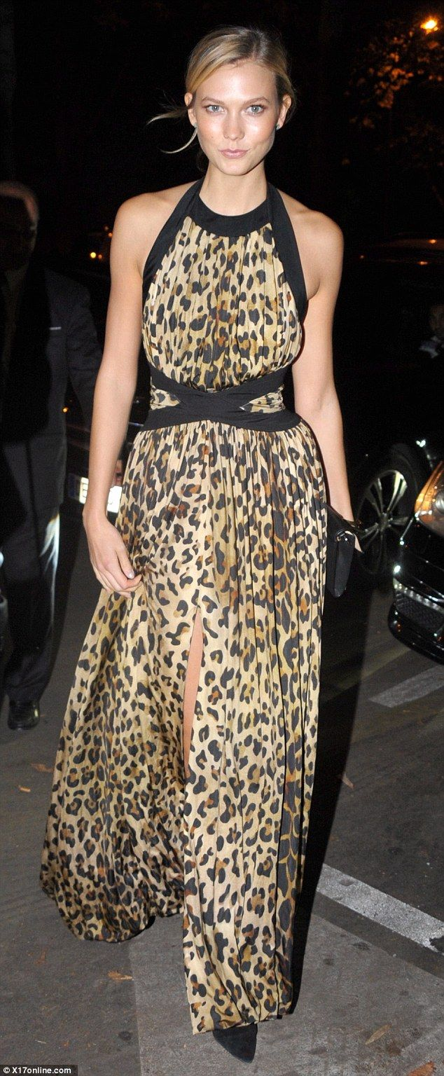 Karlie Kloss stole the show on Thursday night at the Balmain after party  during Paris Fashion Week by wearing a patterned maxi dress. Lovely in  leopard ... a138caa3c