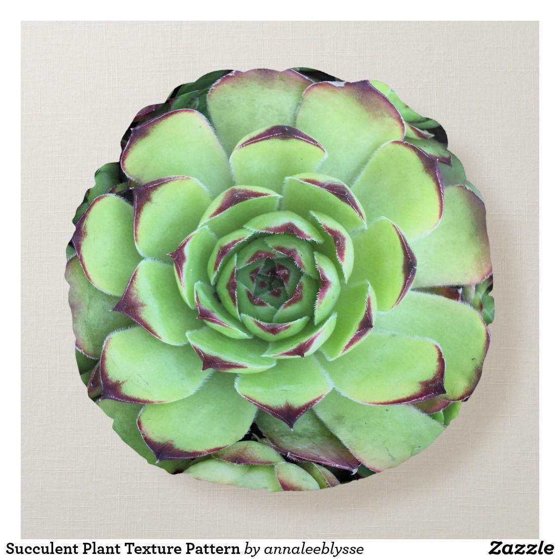 Succulent Plant Texture Pattern Round Pillow | Zazzle.com -   13 plants Texture landscapes ideas