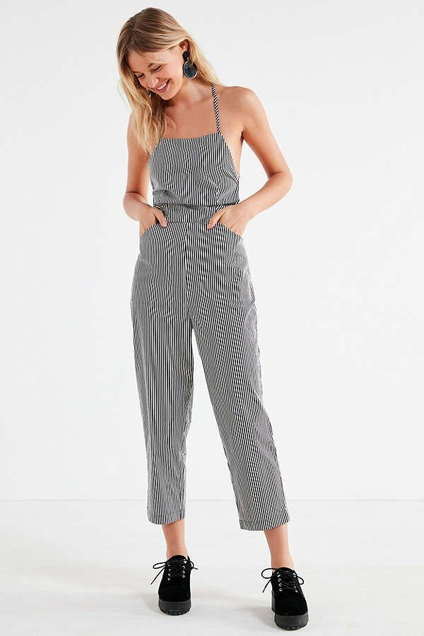 919350211 Slide View: 1: Silence + Noise Strappy Striped Culotte Jumpsuit