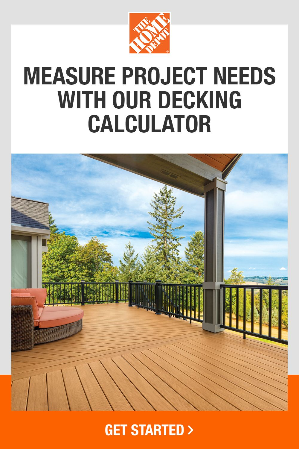 Find Out What You Need For Your New Deck With The Home Depot S Decking Calculator In 2020 Backyard Plan Backyard Backyard Patio Designs