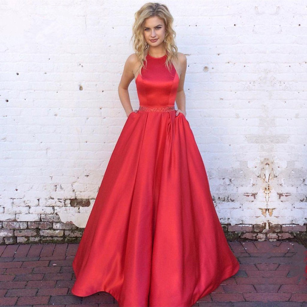 Halter long satin red ball gowns prom dresses open back prom