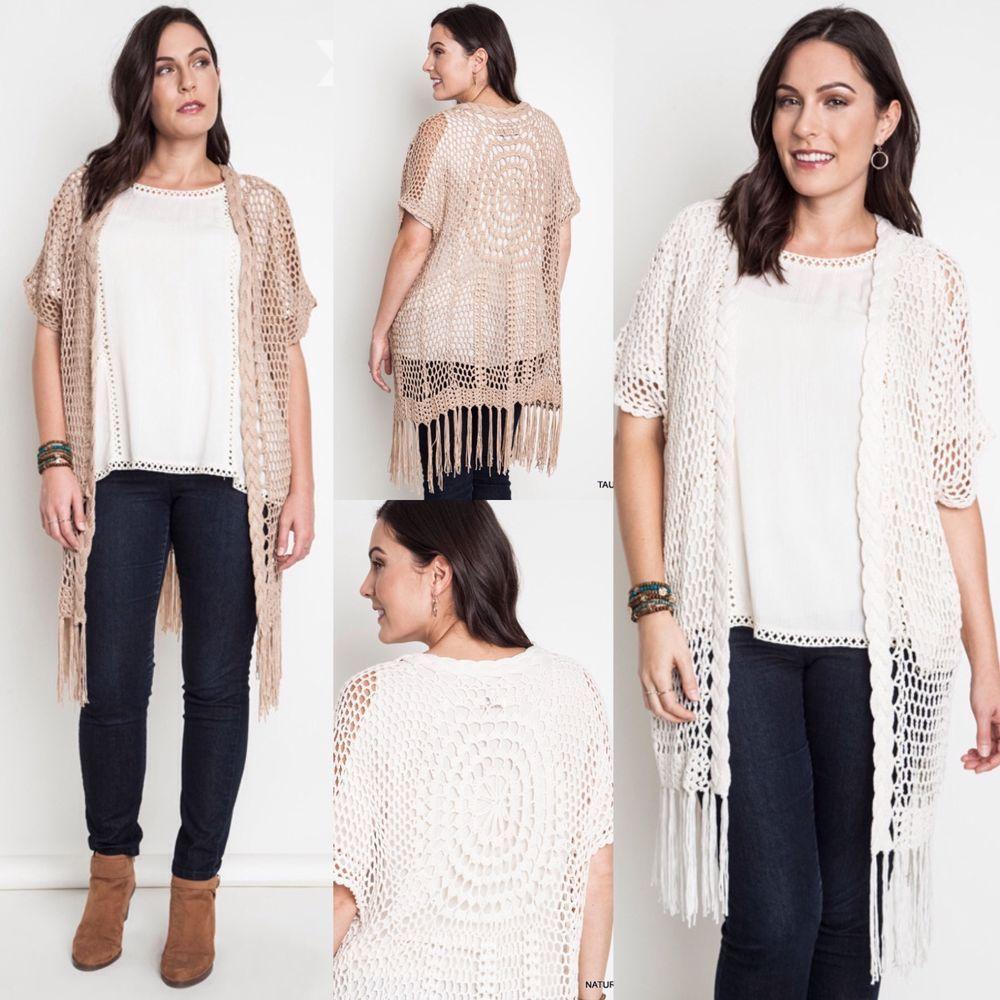 New UMGEE Long Fringe Boho Sundial Crochet Knit Kimono Sweater ...