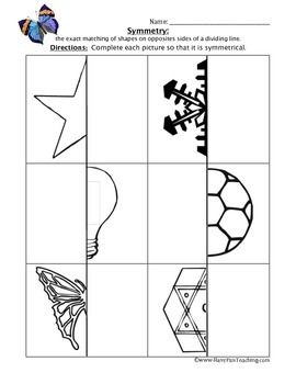 Many free Symmetry Worksheets | cc cycle 3 | Symmetry worksheets ...