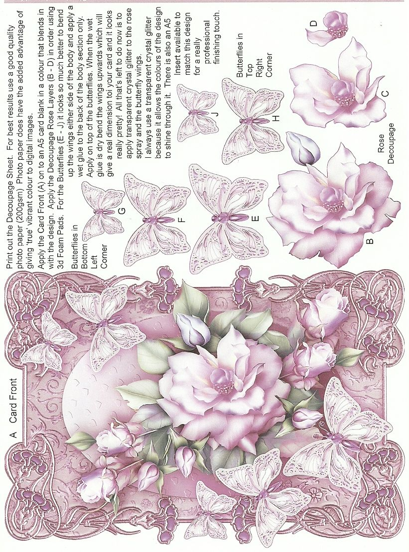 Butterflies And Roses Pink Decoupage Paper Free Printable Cards Cardmaking Printables