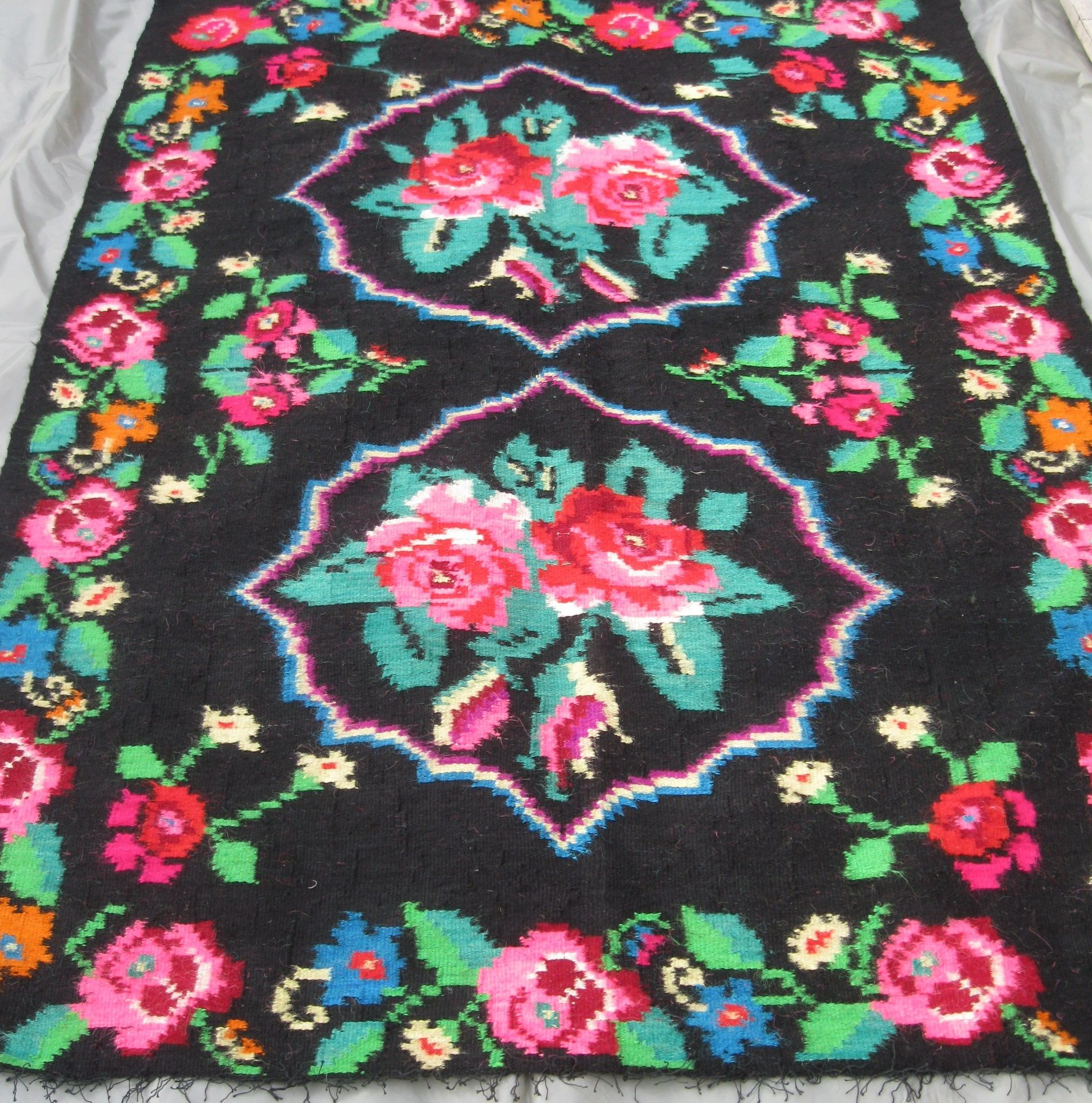 Antique Romanian Traditional Flat Weave Wool Kilim Carpet Rug From Transylvania At Www