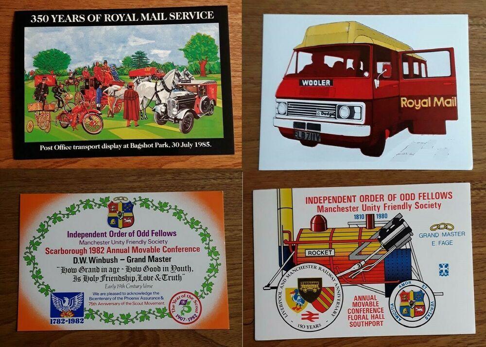 4 cards vintage postcard royal mail postbuses no envelope