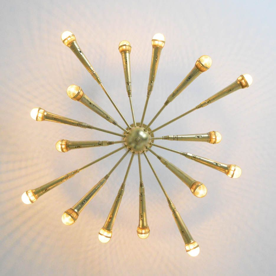 The microphone chandelier chandeliers music studio decor and gold the microphone chandelier aloadofball Images