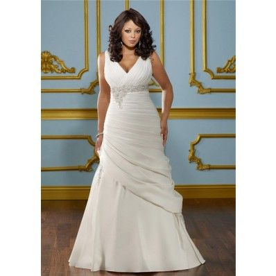 fitted a line v neck empire waist ruched satin plus size