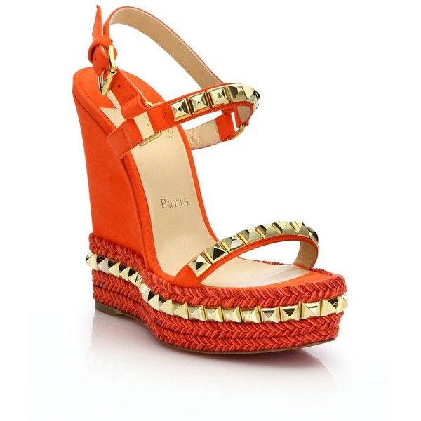 9f3ade29997 spain christian louboutin suede wedges sandals e7b4b 94ce6